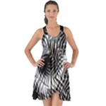 Tropical leafs pattern, black and white jungle theme Show Some Back Chiffon Dress