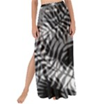 Tropical leafs pattern, black and white jungle theme Maxi Chiffon Tie-Up Sarong