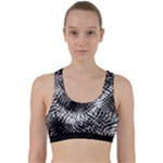 Tropical leafs pattern, black and white jungle theme Back Weave Sports Bra