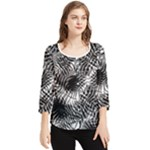 Tropical leafs pattern, black and white jungle theme Chiffon Quarter Sleeve Blouse