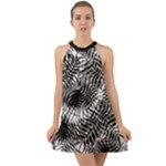 Tropical leafs pattern, black and white jungle theme Halter Tie Back Chiffon Dress