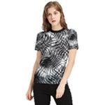 Tropical leafs pattern, black and white jungle theme Women s Short Sleeve Rash Guard
