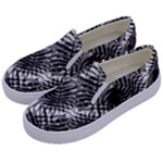 Tropical leafs pattern, black and white jungle theme Kids  Canvas Slip Ons