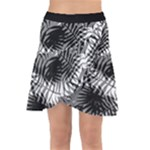 Tropical leafs pattern, black and white jungle theme Wrap Front Skirt