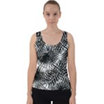Tropical leafs pattern, black and white jungle theme Velvet Tank Top