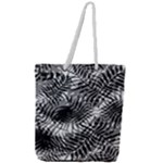 Tropical leafs pattern, black and white jungle theme Full Print Rope Handle Tote (Large)
