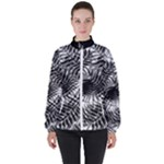 Tropical leafs pattern, black and white jungle theme Women s High Neck Windbreaker