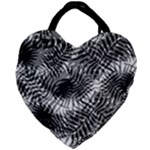 Tropical leafs pattern, black and white jungle theme Giant Heart Shaped Tote
