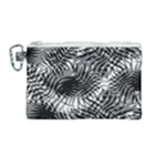 Tropical leafs pattern, black and white jungle theme Canvas Cosmetic Bag (Medium)