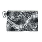 Tropical leafs pattern, black and white jungle theme Canvas Cosmetic Bag (Large)