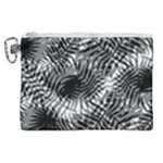 Tropical leafs pattern, black and white jungle theme Canvas Cosmetic Bag (XL)