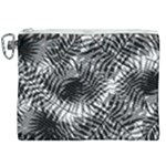Tropical leafs pattern, black and white jungle theme Canvas Cosmetic Bag (XXL)