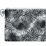 Tropical leafs pattern, black and white jungle theme Canvas Cosmetic Bag (XXXL)