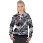 Tropical leafs pattern, black and white jungle theme Women s Overhead Hoodie