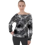 Tropical leafs pattern, black and white jungle theme Off Shoulder Long Sleeve Velour Top
