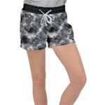Tropical leafs pattern, black and white jungle theme Velour Lounge Shorts
