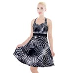 Tropical leafs pattern, black and white jungle theme Halter Party Swing Dress