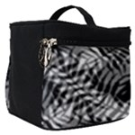 Tropical leafs pattern, black and white jungle theme Make Up Travel Bag (Small)