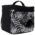 Tropical leafs pattern, black and white jungle theme Make Up Travel Bag (Big)
