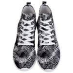 Tropical leafs pattern, black and white jungle theme Men s Lightweight High Top Sneakers