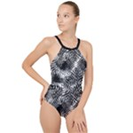 Tropical leafs pattern, black and white jungle theme High Neck One Piece Swimsuit