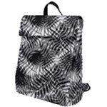 Tropical leafs pattern, black and white jungle theme Flap Top Backpack