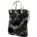 Tropical leafs pattern, black and white jungle theme Canvas Messenger Bag