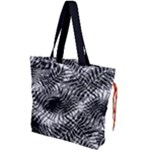 Tropical leafs pattern, black and white jungle theme Drawstring Tote Bag