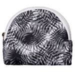 Tropical leafs pattern, black and white jungle theme Horseshoe Style Canvas Pouch