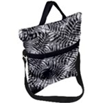 Tropical leafs pattern, black and white jungle theme Fold Over Handle Tote Bag