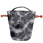 Tropical leafs pattern, black and white jungle theme Drawstring Bucket Bag