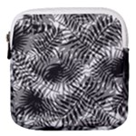 Tropical leafs pattern, black and white jungle theme Mini Square Pouch