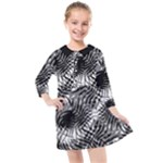 Tropical leafs pattern, black and white jungle theme Kids  Quarter Sleeve Shirt Dress