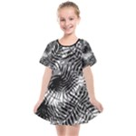Tropical leafs pattern, black and white jungle theme Kids  Smock Dress