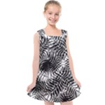 Tropical leafs pattern, black and white jungle theme Kids  Cross Back Dress