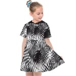 Tropical leafs pattern, black and white jungle theme Kids  Sailor Dress