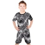 Tropical leafs pattern, black and white jungle theme Kids  Tee and Shorts Set