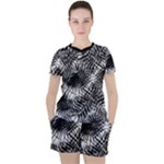 Tropical leafs pattern, black and white jungle theme Women s Tee and Shorts Set
