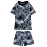 Tropical leafs pattern, black and white jungle theme Kids  Swim Tee and Shorts Set