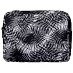 Tropical leafs pattern, black and white jungle theme Make Up Pouch (Large)