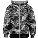 Tropical leafs pattern, black and white jungle theme Kids  Zipper Hoodie Without Drawstring