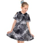 Tropical leafs pattern, black and white jungle theme Kids  Short Sleeve Shirt Dress