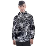 Tropical leafs pattern, black and white jungle theme Men s Front Pocket Pullover Windbreaker