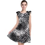Tropical leafs pattern, black and white jungle theme Tie Up Tunic Dress