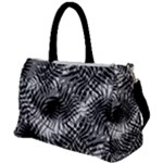 Tropical leafs pattern, black and white jungle theme Duffel Travel Bag