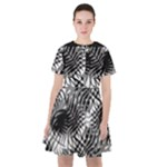 Tropical leafs pattern, black and white jungle theme Sailor Dress