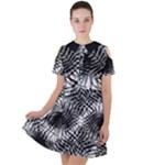Tropical leafs pattern, black and white jungle theme Short Sleeve Shoulder Cut Out Dress