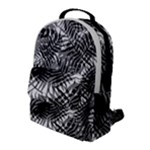 Tropical leafs pattern, black and white jungle theme Flap Pocket Backpack (Large)