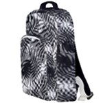 Tropical leafs pattern, black and white jungle theme Double Compartment Backpack