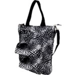 Tropical leafs pattern, black and white jungle theme Shoulder Tote Bag